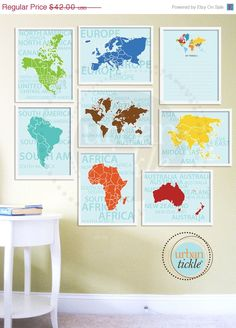 World Map Art for Nursery, Travel List and Continents, Set of Eight, 5X7 Inches, Playroom decor, Baby Gift, Nursery Decor. $35.70, via Etsy.