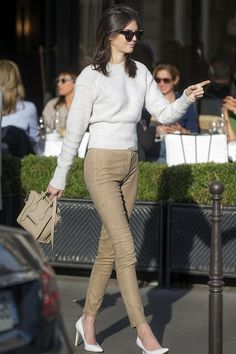 Kendall Jenner.. Theory Sintra Pitella L Washed Suede Leggings, and Celine Nano Bag..