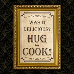 Hug the Cook Wall Art Digital Printables by BlueberryDreamDesign