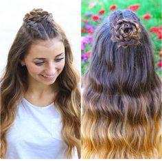 Half-Up Rosette Braid Bun Combo | CuteGirlsHairstyles