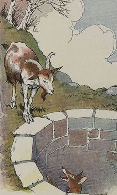 The Fox and the Goat in the Well, Aesop's fable lesson plans and printable activities suitable for preschoolers and kindergarten. Fables D'esope, Chalkboard Drawings, Children's Book Illustration, Book Illustrations, Painting For Kids, Conte, Fairy Tales, Moose Art, Children's Books