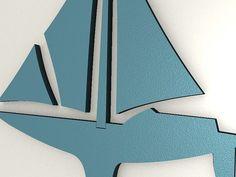 Detailansicht Segelboot - hier sieht man sehr gut die Oberflächenstruktur unserer 3D Wandtattoos