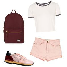 A fashion look from August 2015 featuring Topshop t-shirts, Current/Elliott shorts and Valentino sneakers. Browse and shop related looks.