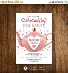 Printable Valentine Tea Party Invitation Invite by AmeliyCom https ...