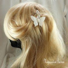 Pince clip cheveux papillon double ailes soie et transparent  blanc, corps perles -collection Maéva, coiffure romantique, made in France