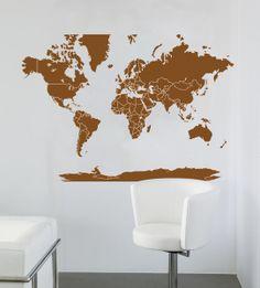 Woonkamer muur boven eettafel on pinterest worldmap vans and stickers - Grijze muur deco ...