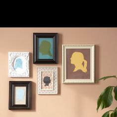 Silhouettes are a nice sophisticated touch but maybe instead of purchasing frames fake it but making cardboard frames and taping on wall. Crafts To Make, Crafts For Kids, Diy Crafts, Cardboard Frames, Love Silhouette, Home Made Simple, Homemade Fathers Day Gifts, Elephant Quilt, Handmade Wedding Gifts