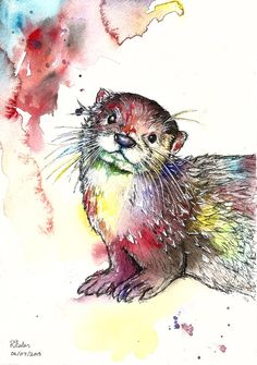 Delilah die Otter Limited Edition A3 Malerei Aquarell Farbe drucken