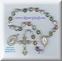 18 18 Autom CB Silver Plated 7MM Multi Color Glass Bead with Divine Mercy Centerpiece Rosary Necklace