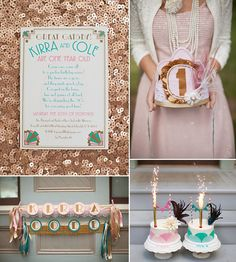 Copper, pink and teal...color inspiration for a gender reveal or boy-girl party