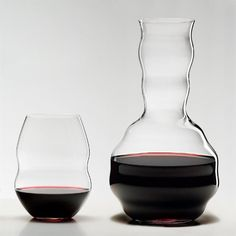 Ideal for aerating easy to hold. Give your wine and wallet ample breathing room. Four red wine tumblers and a FREE decanter feature aerating ridges inside for splash-free swirling and easy-to-grip indentations outside for safe pouring. An innovative design recognized by The Museum of Modern Art. FREE Riedel decanter is a $40 value! Machine made of lead-free crystal. Dishwasher safe. Size: Tumbler - 4-3/4'H 20-1/2 oz.; Decanter 9-1/2'H 49-7/8 oz.