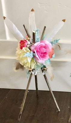 1piece . Tee Pee Centerpiece ! This is an adorable decoration for birthdays, Showers, room decor, outside decor , possibilities are Endless!! **Made with bark, rose gold dipped feathers, pheasant feathers, jute,ash wood, faux rose gold pearls, high quality faux flowers and plants! ** **If you need more quantity please message me as I do custom orders by request!! Size 12 high 9 wide