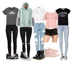 Untitled #1451 by xgrungetrash on Polyvore featuring polyvore fashion style BB Dakota Vans Miss Selfridge Topshop Bullhead Denim Co. Dr. Martens Converse clothing