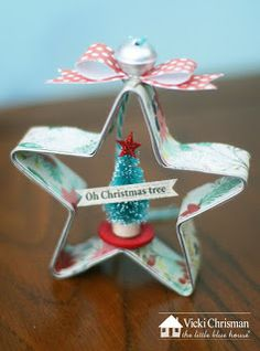 12 Days of Ornaments- get the full tutorial on the blog on how to make this adorable cookie cutter ornament! #thelittlebluehouse Cute Christmas Decorations, Vintage Christmas Ornaments, Noel Christmas, Christmas Crafts, Kitchen Ornaments, Handmade Ornaments, Holiday Crafts For Kids, Holiday Ideas, 12 Days