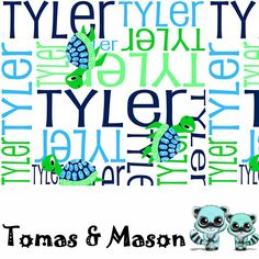 Turtle Minky Name Personalised Blanket Design. Choose your own, images, colours and name