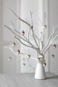 White Christmas Decorations - Felted Acorn Decorations - Set of 6 Magical Forest Forest Party Favors - Employee Gift Idea - by Vaida Petreikis - Weihnachten - White Christmas Ornaments, Felt Ornaments, Rustic Christmas, Xmas, Christmas Christmas, White Christmas Decorations Diy, Christmas Mantles, Christmas Villages, Victorian Christmas