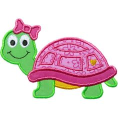 Cute+Turtle+Girl+Applique+by+HappyApplique.com
