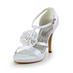 Wedding Shoes - $58.39 - Women's Satin Cone Heel Peep Toe Platform Sandals With Satin Flower (085026901) http://jjshouse.com/Women-S-Satin-Cone-Heel-Peep-Toe-Platform-Sandals-With-Satin-Flower-085026901-g26901