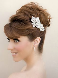 Glamorous rhinestone flower bridal hair comb in red hair bridal updo by Hair Comes the Bride.