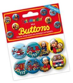8 Mini Button * Feuerwehr * mit Anstecknadel vom Lutz Mauder Verlag // 67229 // Kinder Geburtstag Mitgebsel Geschenk Party Buttons Set Feuerwehrmann Feuerwehrauto: Amazon.de: Spielzeug