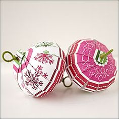 Ornaments from scrapbook paper! Amazingly easy!