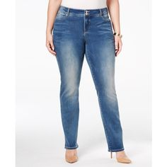 Inc International Concepts Plus Size Slim Tech Straight-Leg Jeans, ($25) ❤ liked on Polyvore featuring plus size women's fashion, plus size clothing, plus size jeans, sail wash, slim blue jeans, blue jeans, slim fit jeans, womens plus size jeans and slim jeans