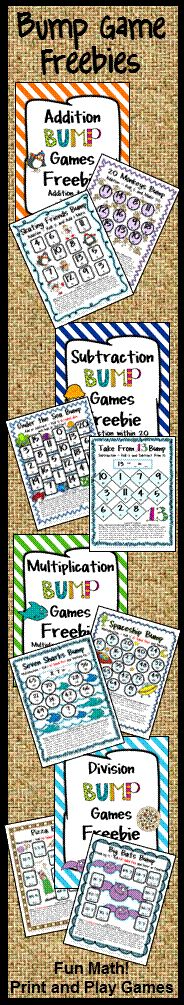 Luv these! FREEBIE Bump Games for Addition, Subtraction, Multiplication and Division - Just print and play - loads of math FUN! Math Classroom, Kindergarten Math, Teaching Math, Teaching Ideas, Math Stations, Math Centers, Math Resources, Math Activities, Math Multiplication