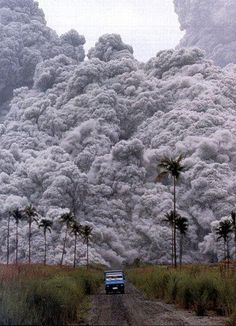 ,Natures Fury!!  Volcano eruption in Philippines. That guy's chances are not good!