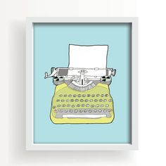 drawingvintage typewriter large wall art modern by PaperAndCanvas