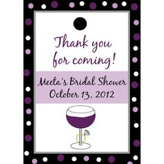 24 Personalized Bridal Shower Favor Tags - Wine and Ring      These measure 2.5 x3.5 and are printed on 110 lb cardstock.    They come with a hole