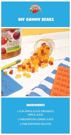 Did you know you can make gummy bears at home? With just a mold, juice, lemon juice, and gelatin, you can create your very own chewy critters. Click through to make some like ours!