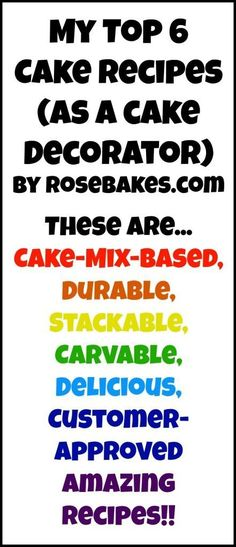 My Top 6 Favorite Cake Recipes My Top 6 Favorite Cake Recipes - these are the recipes I use most in my home cake business and my customers love them! They are doctored cake mixes. - My Top 6 Favorite Cake Recipes for Cake Decorating Cake Mix Recipes, Frosting Recipes, Cupcake Recipes, Cake Mixes, Buttercream Frosting, Fondant Recipes, Frosting Tips, Cupcake Ideas, Dessert Ideas