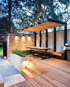 balk als bankje Pergola Garden, Deck With Pergola, Outdoor Pergola, Backyard Pergola, Deck Patio, Pergola Roof, Flagstone Patio, Patio Stone, Cheap Pergola