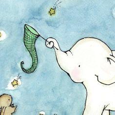 Catch A Falling Star Elephant and Bunny 8x10 Children's Art Print