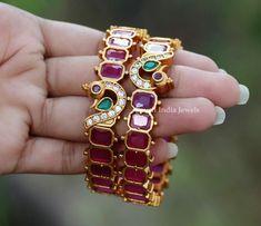 Gold Bangles Design, Gold Jewellery Design, Silver Jewelry, Ruby Bracelet, Bangle Bracelets, Necklaces, Imitation Jewelry, Latest Jewellery, Jewelry Patterns