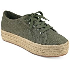 indigo rd. Zenth Espadrille Sneakers ($59) ❤ liked on Polyvore featuring shoes, sneakers, olive, army green shoes, espadrille shoes, olive shoes, espadrille sneakers and olive green sneakers
