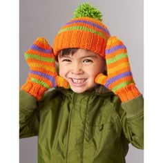 Striped Basic Hat and Mittens 4 Needles