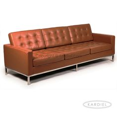 Florence Knoll Style Sofa 3 Seat, Caramel Premium Leather |