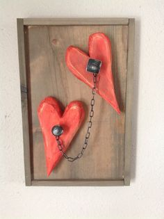 Rustic Wooden Hearts Together