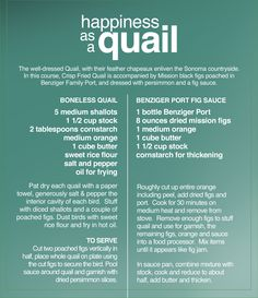 Recipe for Quail and Fig Sauce.