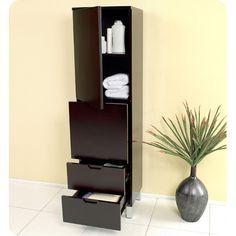 Fresca Espresso Bathroom Linen Cabinet with 4 Storage Areas