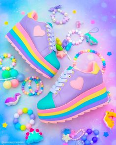🌈 Shoes as colorful as these rainbow platforms can instantly kawaii-fy any outfit! 💖🎄 Show off your Harajuku-inspired style with your favorite pair of cuties like these! Pastel Goth Fashion, Kawaii Fashion, Cute Fashion, Fashion Shoes, Diy Fashion, Fashion Accessories, Pastel Shoes, Pastel Outfit, Pastel Clothes