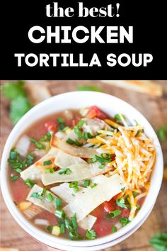 Slow Cooker Chicken Tortilla Soup is a super easy recipe that is all about the toppings! The crispy homemade tortilla strips on top absolutely make this perfect weeknight crock pot tortilla soup! via @greenschocolate