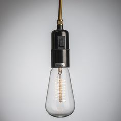 Mobile pendant lamp, golden fabric cable, spiral filament bulb