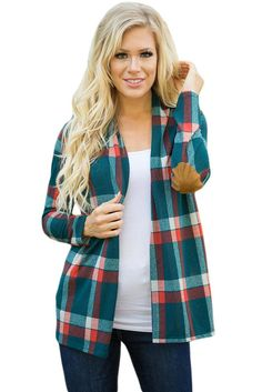 Ailunsnika Autumn Plaid Cardigan Long Sleeve Patch Casual Cardigan For 2017 Trendy Outwear Cashmere Crochet Knitted Cardigans Cheap Cardigans, Western Wear For Women, Bikini, Elbow Patches, Green Suede, Boutique, Knit Cardigan, Sweaters For Women, Shopping