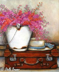 By Stella Bruwer white enamel bucket on suitcase with white hat trimmed with blue ribbon pink and orange cascading flowers Gouache, Stella Art, Decoupage, Creation Photo, South African Artists, Country Paintings, Vintage Diy, Pictures To Paint, Beautiful Paintings