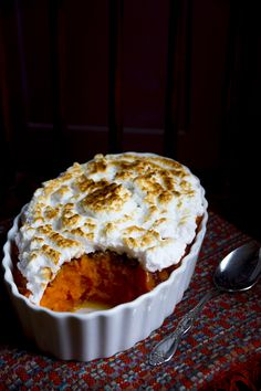 Sweet potato casserole with maple pecans and italian meringue for Thanksgiving