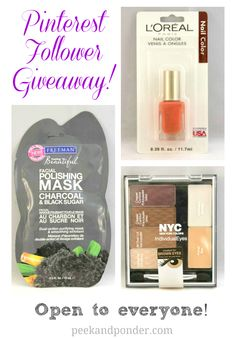 Giveway http://www.peekandponder.com/2013/09/pinterest-beauty-giveaway.html?utm_source=feedburner&utm_medium=feed&utm_campaign=Feed%3A+Peekponderpublish+%28Peek+%26+Ponder%29