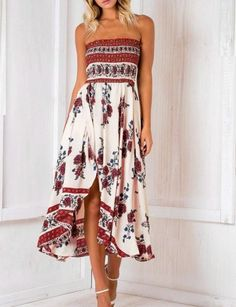 Fashion Boho Bandeau Floral Print Dress