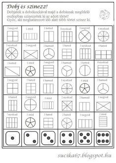 Játékos tanulás és kreativitás: Dobj, pörgess és színezz, takarj, ... törtek Math Formulas, Math Class, Play To Learn, Fractions, Math Games, Special Education, Kids Learning, Teacher, Parents
